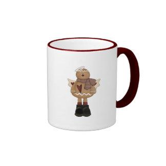 christmas angel gingerbread man ringer coffee mug