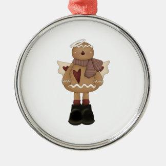 christmas angel gingerbread man round metal christmas ornament