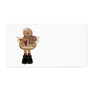 christmas angel gingerbread man shipping label