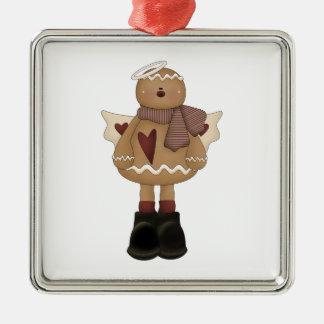 christmas angel gingerbread man square metal christmas ornament