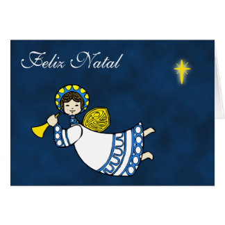 Christmas Angel Greetings in Portuguese Language Greeting Card