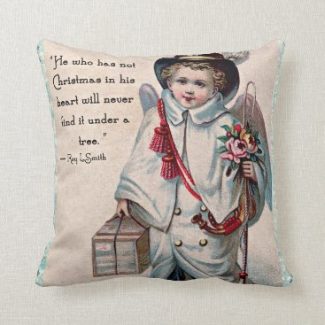 Valentines Themed Christmas Angel Heart Throw Pillow