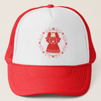 Christmas Angel In Red Lace Trucker Hat