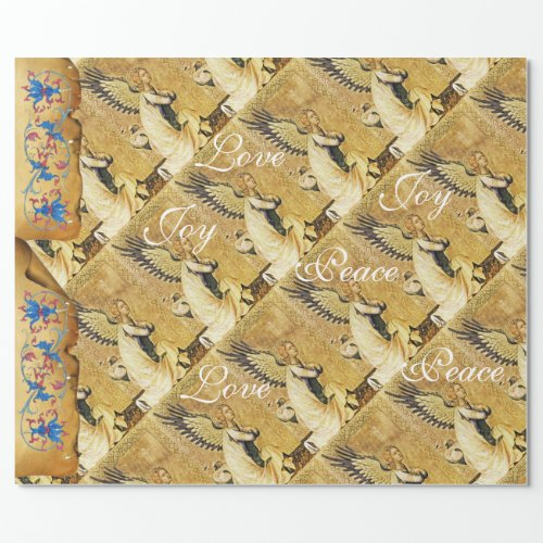 CHRISTMAS  ANGEL JOY PEACE LOVE FLORAL PARCHMENT WRAPPING PAPER