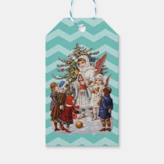 Christmas Angel, Kids and a Christmas Tree Gift Tags