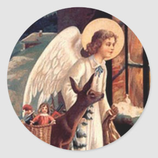 Christmas Angel looking through a window Classic Round Sticker