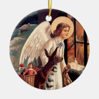 Christmas Angel looking through a window Double-Sided Ceramic Round Christmas Ornament