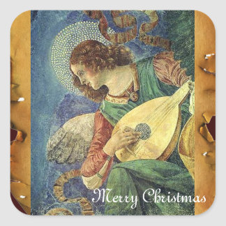 CHRISTMAS ANGEL MAKING MUSIC ANTIQUE PARCHMENT SQUARE STICKER