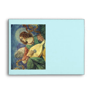 CHRISTMAS ANGEL MAKING MUSIC blue green turquoise Envelope