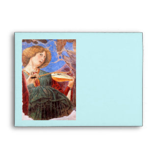 CHRISTMAS ANGEL MAKING MUSIC red,blue turquoise Envelope