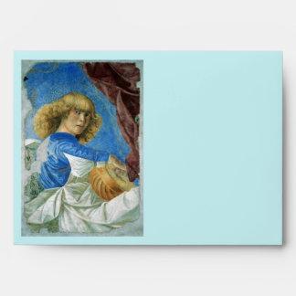 CHRISTMAS ANGEL MAKING MUSIC white blue turquoise Envelopes