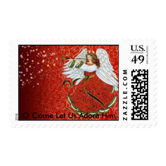 CHRISTMAS ANGEL, O Come Let Us Adore Him Postage