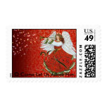 CHRISTMAS ANGEL, O Come Let Us Adore Him Postage Stamp