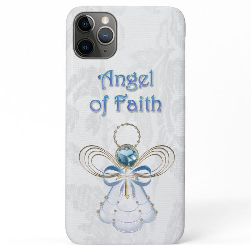 Christmas Angel of Faith Blue Filigree & Lace iPhone 11 Pro Max Case