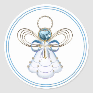 Christmas Angel of Faith Classic Round Sticker