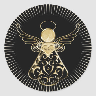 Christmas Angel of Grace Filigree Black and Gold Classic Round Sticker