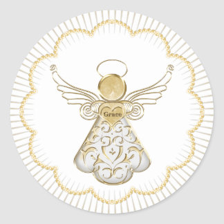 Christmas Angel of Grace Scalloped gold beads Classic Round Sticker