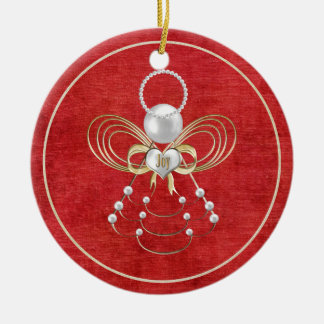 Christmas Angel of Joy - Red Ceramic Ornament