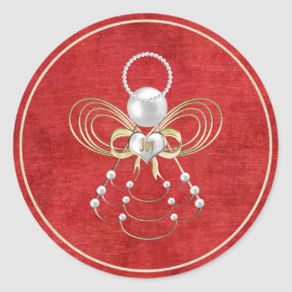 Christmas Angel of Joy - Red Classic Round Sticker