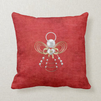 Christmas Angel of Joy - Red Throw Pillow