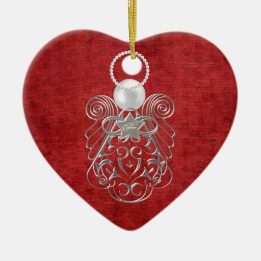 Christmas Angel of Peace on Red Textured Chenille Double-Sided Heart Ceramic Christmas Ornament