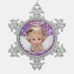 Christmas Angel on Snowflake Pewter Ornament