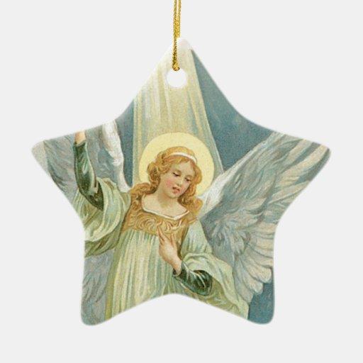 Christmas Angel Double-Sided Star Ceramic Christmas Ornament