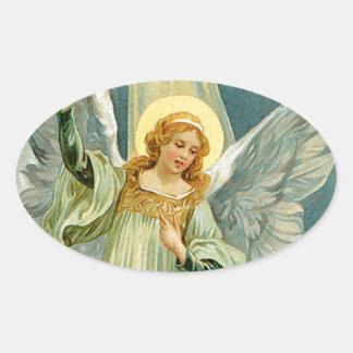 Christmas Angel Oval Sticker
