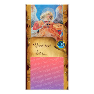 CHRISTMAS  ANGEL PARCHMENT Sapphire Monogram Photo Card