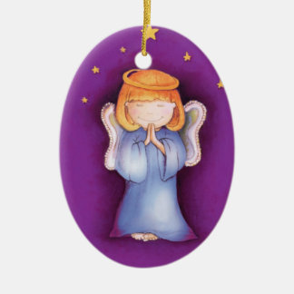 Christmas angel peace, happiness purple ornament