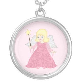 Christmas Angel Pendant Cute Pink Art Necklace