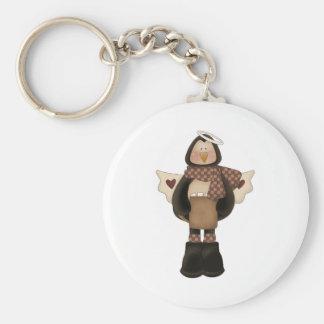 christmas angel penguin basic round button keychain