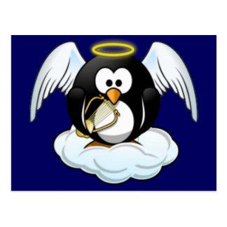 Christmas Angel Penguin Postcard
