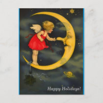 Christmas Angel Pinching Man in the Moon Nose Holiday Postcard