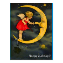 Christmas Angel Pinching Man in the Moon Nose Postcard