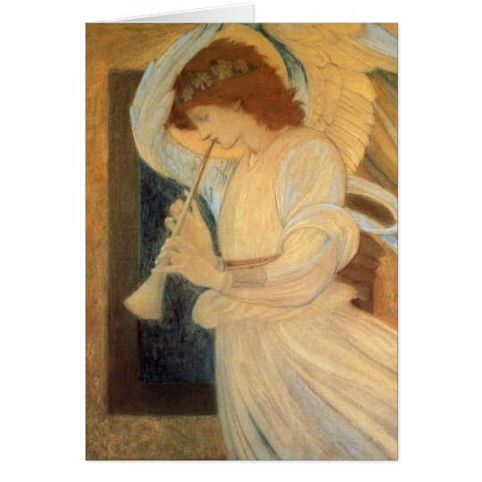Christmas Angel Playing a Flageolet by Burne Jones Card