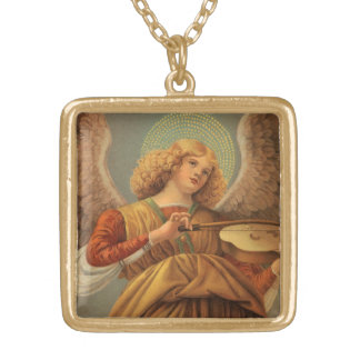 Christmas Angel Playing Violin Melozzo da Forli Gold Plated Necklace