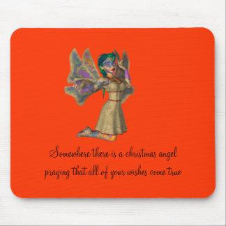 Christmas Angel Praying for Wishes Mousepad