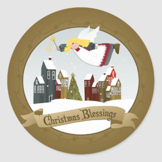 Christmas Angel Round Stickers
