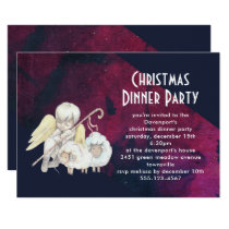 Christmas Angel Shepherd with Lambs Christmas Invitation
