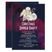 Christmas Angel Shepherd with Lambs Dinner Party Invitation
