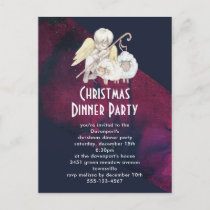 Christmas Angel Shepherd with Lambs Dnner Party Postcard