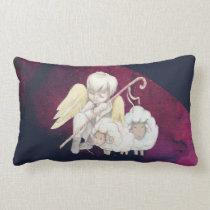Christmas Angel Shepherd with Lambs Lumbar Pillow