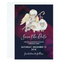 Christmas Angel Shepherd with Lambs Save the Date Invitation