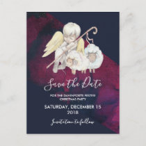 Christmas Angel Shepherd with Lambs Save the Date Postcard