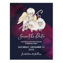 Christmas Angel Shepherd with Lambs Save the Date Postcard