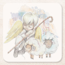 Christmas Angel Shepherd with Lambs Square Paper Coaster