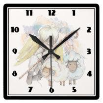 Christmas Angel Shepherd with Lambs Square Wall Clock
