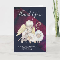 Christmas Angel Shepherd with Lambs Thank You Card