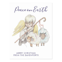 Christmas Angel Shepherd with Sheep Holiday Postcard